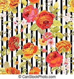 vendimia, floral, plano de fondo, -, seamless, patrón, para, diseño, impresión, álbum de recortes, -, en, vector