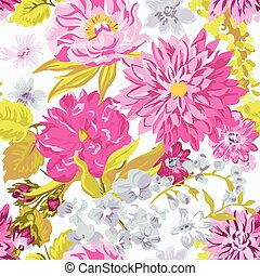 vendimia, floral, plano de fondo, -, seamless, patrón, para, diseño, y, álbum de recortes, -, en, vector