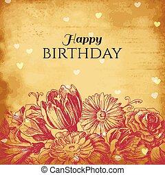 vendimia, floral, plano de fondo, tarjeta de cumpleaños