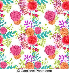 vendimia, floral, seamless, patrón