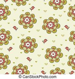 vendimia, floral, seamless, patrón, con, birds.