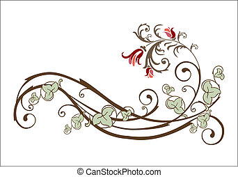 vendimia, flores, diseño, hiedra, elemento