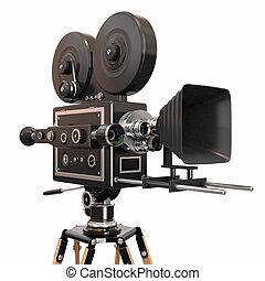vendimia, fondo., cámara, película, blanco, 3d