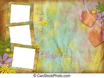 vendimia, foto encuadra, en, el, resumen, multicolor, papel,...