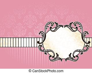 vendimia, francés, elegante, etiqueta, oval, horizontal