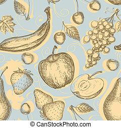 vendimia, fruits, seamless, patrón