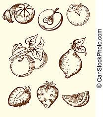 vendimia, fruta, iconos