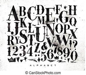 vendimia, gótico, alfabeto