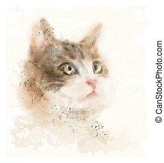 vendimia, gato, acuarela, retrato, dibujado, mano