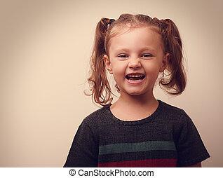 vendimia, girl., primer plano, reír, retrato, niño, feliz
