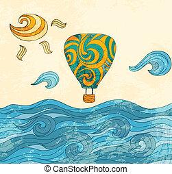 vendimia, globo, aire