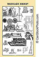 vendimia, grabado, telégrafo, y, su, ancestror