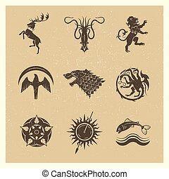 vendimia, grande, reinos, casas, juego, heráldico, vector, iconos