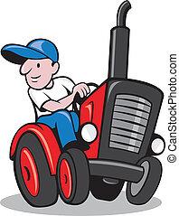 vendimia, granjero, caricatura, tractor, conducción
