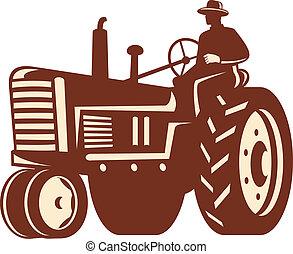 vendimia, granjero, retro, tractor, conducción