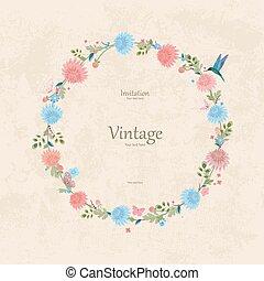 vendimia, guirnalda, con, encantador, crisantemo, para, su, design.