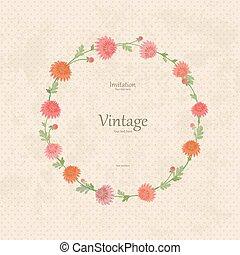 vendimia, guirnalda, con, flores del resorte, para, su, design.
