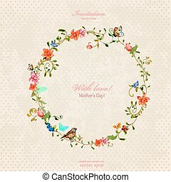 vendimia, guirnalda, ornamento, foliate, acuarela, flowers.,...