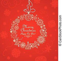 vendimia, guirnalda, saludo, rojo, navidad, tarjeta