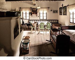 vendimia, habitación, con, cama, cuna, horno, tabla, y, sillas, en, viejo, rural, house., sepia, estilo, imagen
