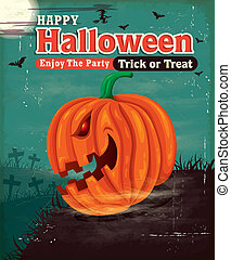 vendimia, halloween, cartel, diseño determinado