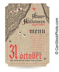 vendimia, halloween, menú, fiesta
