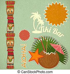 vendimia, hawaiano, tiki, postal
