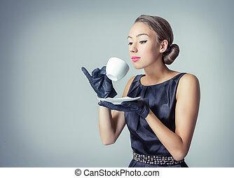 vendimia, hermoso, moda, niña, con, taza para café