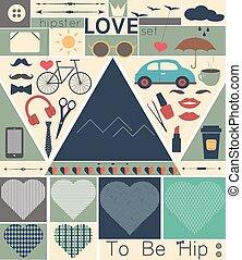 vendimia, hipster, amor, arte, conjunto