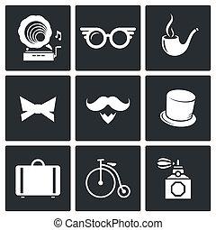 vendimia, hipster, iconos, conjunto