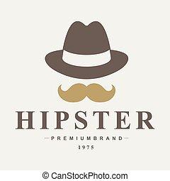 vendimia, hipster, insignias, y, etiquetas
