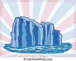 vendimia, iceberg, plano de fondo