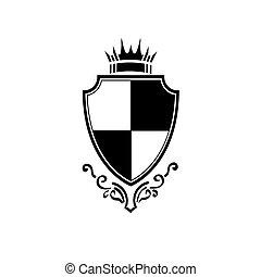 vendimia, icono, protector, príncipe, corona, simple, caballero, logotipo, vector