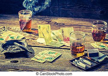 vendimia, ilegal, juego, tabla, con, tarjetas, y, dinero