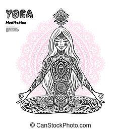 vendimia, illustration., niña, en, un, meditación, postura