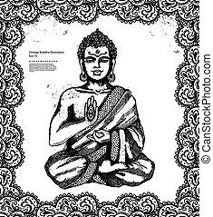 vendimia, ilustración, con, buddha, en, meditación