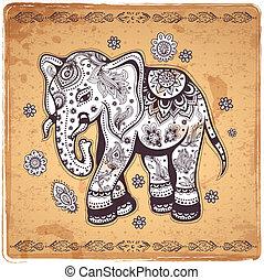 vendimia, ilustración, elefante