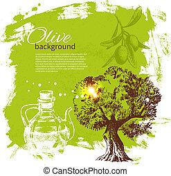 vendimia, ilustración, mano, fondo., aceituna, dibujado