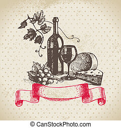 vendimia, ilustración, mano, fondo., dibujado, vino