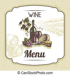 vendimia, ilustración, mano, fondo., menú, dibujado, vino