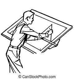 vendimia, ilustración, versión, arquitecto, negro, blanco