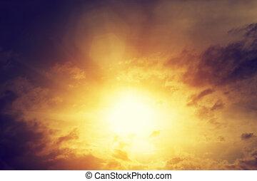 vendimia, imagen, de, cielo de puesta de sol, con,...