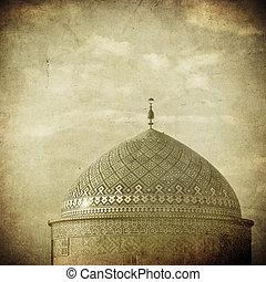 vendimia, imagen, de, mezquita, en, un, antiguo, ciudad, de, yazd, irán