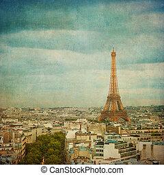 vendimia, imagen, eiffel, parís, francia, torre