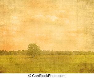 vendimia, imagen, papel, árbol, blanqueado