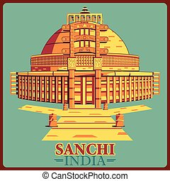 vendimia, india, cartel, famoso, madhya, stupa, monumento,...