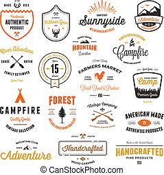 vendimia, insignias, y, etiquetas