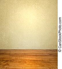vendimia, interior, con, piso de madera