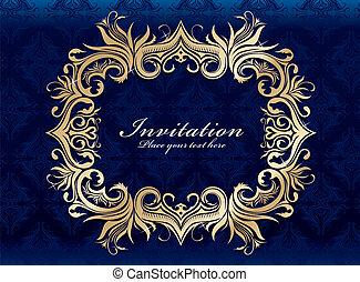 vendimia, invitación, marco, diseño