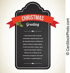 vendimia, invitación, pizarra, navidad, etiqueta